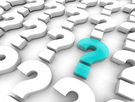 ponder: Many question marks on a white background, with one mark highlighted in blue in the foreground Stock Photo