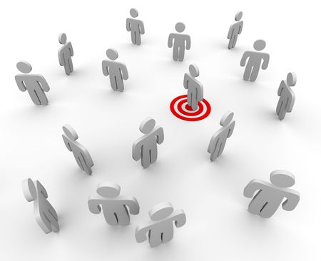 targeted: One figure is targeted in a sparse crowd, symboliziong targeted marketing techniques Stock Photo