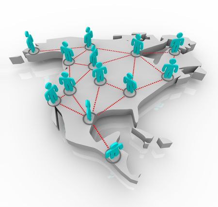 state: A map of North America with a network of people standing atop it. Stock Photo