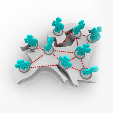 A group of networked figures stand atop a conceptualized map of Europe Stock Photo - 4182618