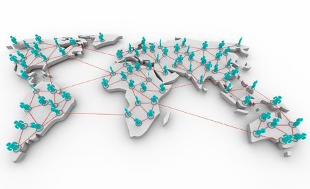 A global map showing the connections of people across many continents.