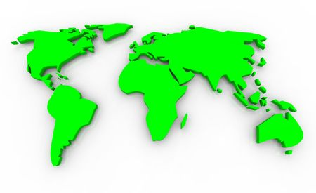 A 3d render of a green global map on a white background. Stock Photo - 4182569