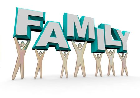 A set of figures representing a familly lifting the word FAMILY