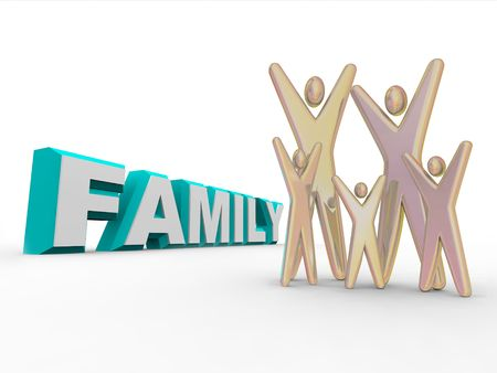 A set of five figures representing family members standing beside the word FAMILY. Stock Photo - 4182603