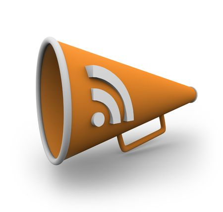 An orange bullhorn with the rss logo on the side of it Stock Photo - 4185943