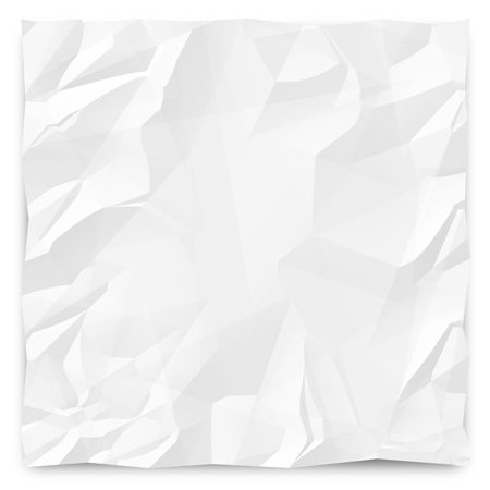 A white, wrinkled piece of paper background for slides, brochures and presentations. Stockfoto