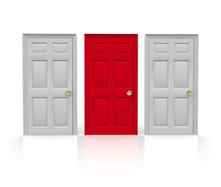 right choice: Three doors stand before you... do you pick the red one in the middle?