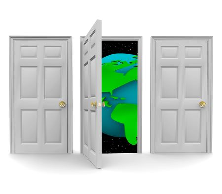 One of three doors opens to reveal a world of new opportunity