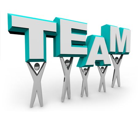 A team of people works together to raise the word Team Stock Photo - 4260718