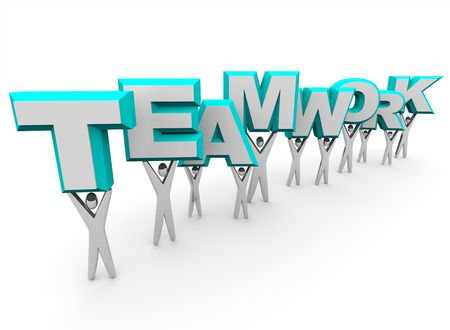 businessteam: A team of people lift the word Teamwork Stock Photo