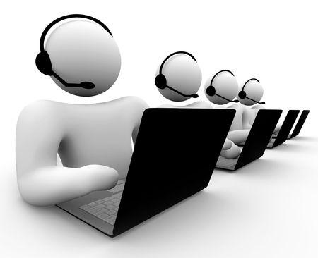 Een bank van call center medewerkers--klantenservice, computer tech support, etc.. Stockfoto