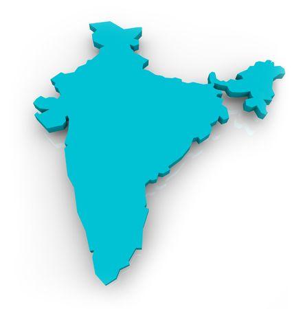 mapa conceptual: Un mapa en 3D de la India, sobre un fondo blanco