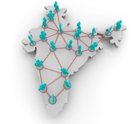 computer network: A social network of people in the country of India Stock Photo