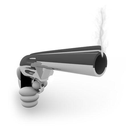 A hand aims a silver handgun that is smoking after firing a bullet photo