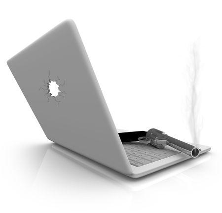 office theft: A smoking handgun rests on a laptop computer keyboard