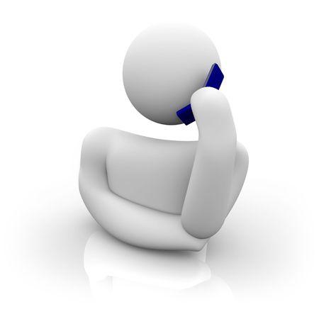A figure talks on a blue cellular phone Stock Photo - 4304654