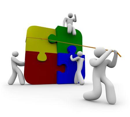 Une équipe de quatre personnes mettre un puzzle Banque d'images - 4327233