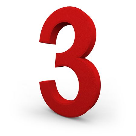 A red number three with texture sits on white background photo