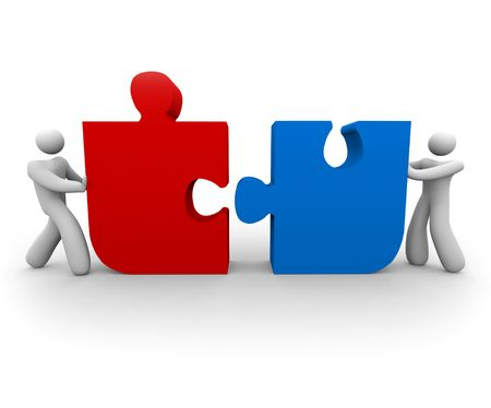 two piece: Two figures push a red and blue puzzle piece together