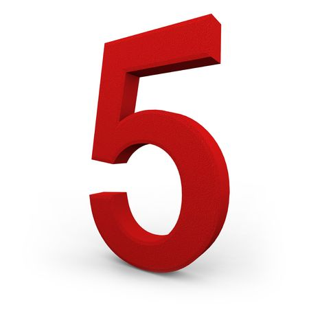 A red number five with texture sits on white background photo