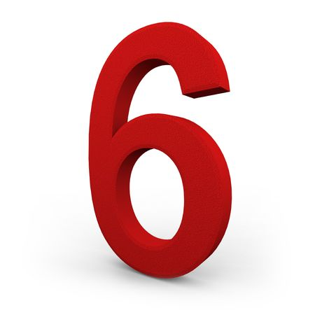 A red number six with texture sits on white background photo