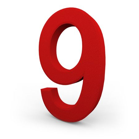 A red number nine with texture sits on white background Stock Photo