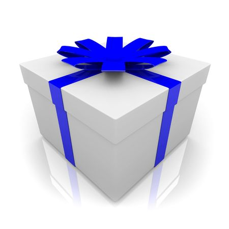 A white wrapped gift box with blue ribbon and bow Stock Photo - 4362726
