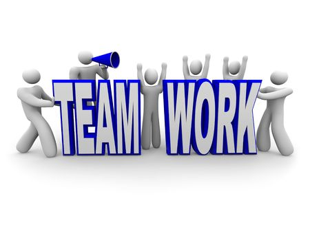 interacting: A team of people work together to build the word Teamwork Stock Photo