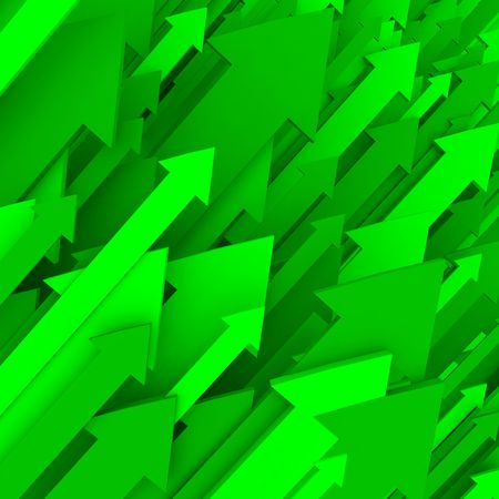 hightech: A series of green arrows shoot upward to the right Stock Photo