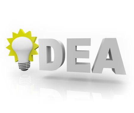 ponder: The word Idea with an illuminated light bulb Stock Photo