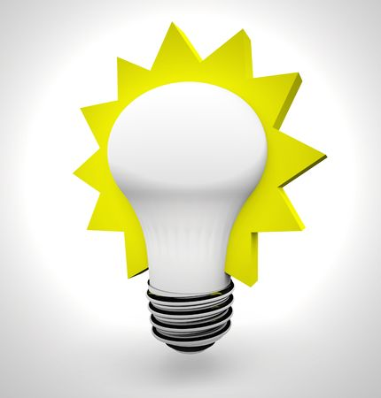 A bright light bulb with a yellow starburst around it, symbolizing an idea Stock Photo - 4392435