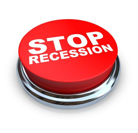 slump: A round, red button on a white background reading Stop Recession