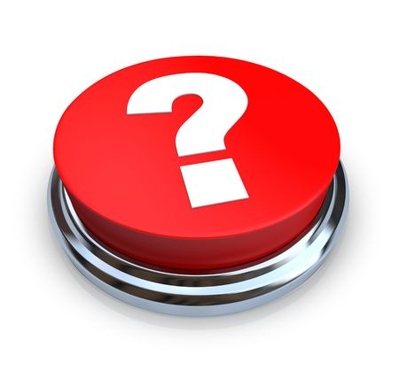 inquiry: A round, red question mark button on a white background