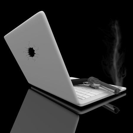 laptop screen: A smoking handgun sits on a laptop keyboard after a hole is shot in the screen.