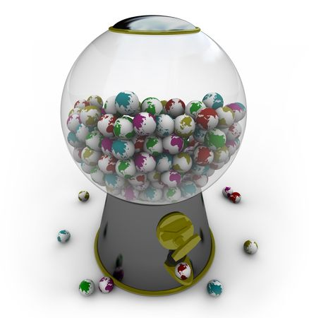 environmentalism: A gumball machine is filled with small Earths of different colors Stock Photo