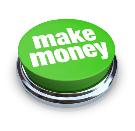 Een ronde, groene knop op een witte achtergrond lezing Make Money Stockfoto