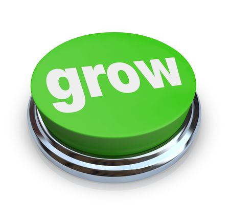 A round, green button on a white background reading Grow