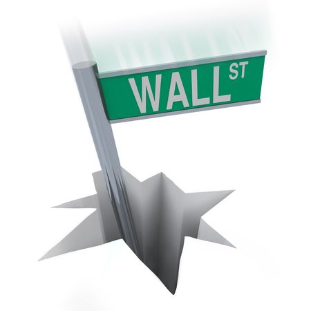 bear market: The famous Wall Street sign plunges into a hole, symbolizing the current bear market