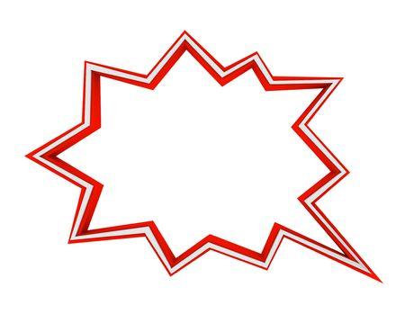 A red and white comic book speech bubble - star burst Foto de archivo