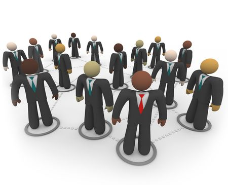 A diverse social network of business people in suits and ties Stock Photo - 4650330