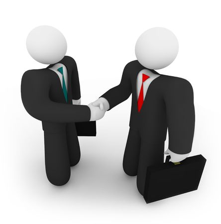 employ: Two business people holding suitcases shake hands Stock Photo