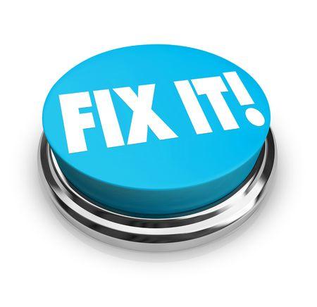 Een blauwe knop met de woorden Fix Het Stockfoto