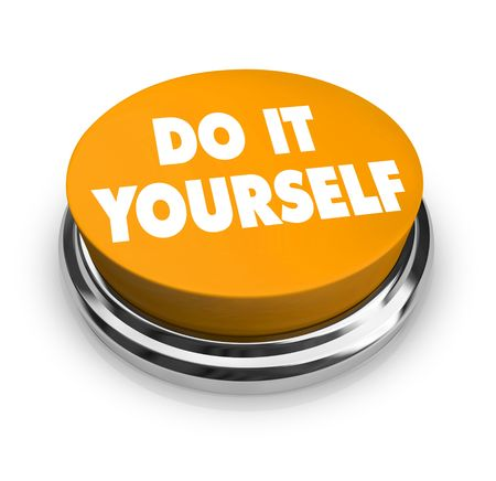 A orange button with the words Do It Yourself on it Stok Fotoğraf - 4698113