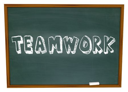 The word Teamwork is Written on a Chalkboard photo