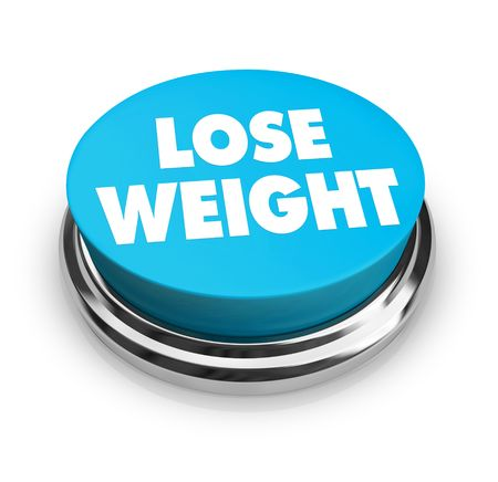 A red button with the words Lose Weight on it Stock Photo - 4698116