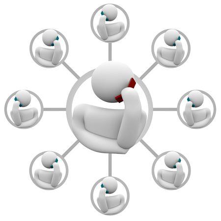 Una red de amigos y miembros de la familia en un plan de llamadas de tel�fono Foto de archivo - 4718546