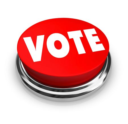 A red button with the word Vote on it photo