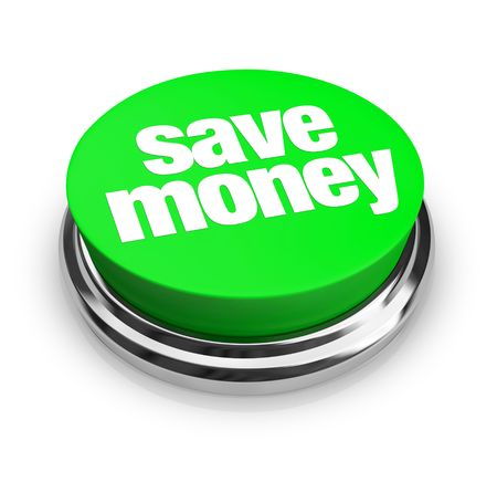 A green button with the words Save Money on it Stock Photo