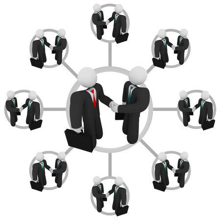 n�gociation: Illustration de la mani�re dont la fabrication d'une relation d'affaires peuvent mener � bien d'autres