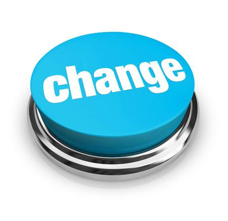 evolve: A blue button with the word Change on it Stock Photo